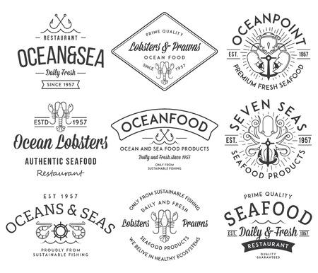 Noir sur blanc étiquettes de fruits de mer et insignes vol. 3 pour toute utilisation
