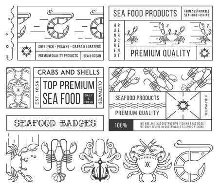 pescados y mariscos: Negro en las etiquetas de los mariscos blancos, insignias vol. 4 para cualquier uso