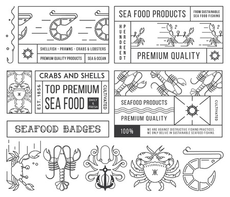 Black on white seafood labels and badges vol. 4 for any use Illustration