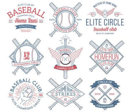 guante de beisbol: Insignias e iconos del vector del béisbol