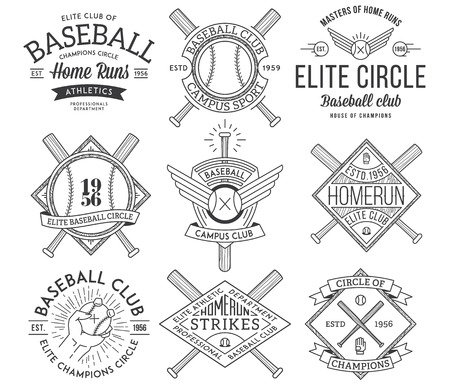 campo de beisbol: Insignias e iconos del vector del béisbol