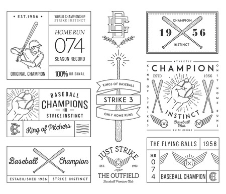 baseball pitcher: Vector Baseball badges and icons Illustration