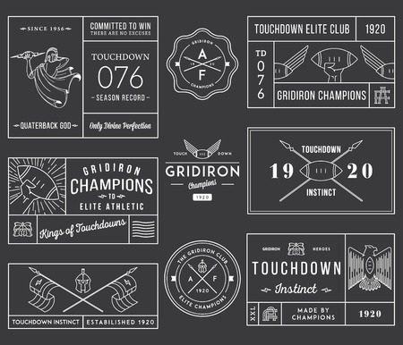 the varsity: Vector American footballl badges and crests