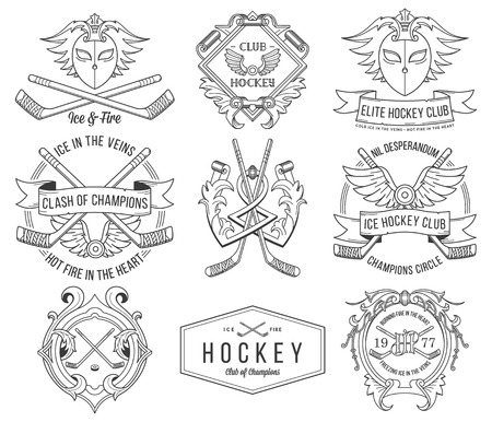 fire skull: Vector Ice Hockey badges for any use
