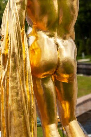 peterhof: Gold statue at Peterhof garden, St. Petersburg, Russia