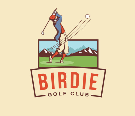 elite sport: Golf player vector badge for any use