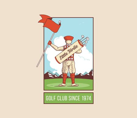 elite sport: Little boy holding golf flag