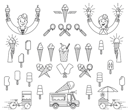 Vector ice cream bundle with signs and icons for any use Ilustração