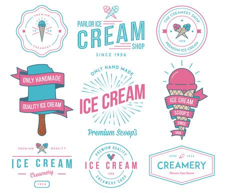 helado de chocolate: Insignias crema Vector de hielo y signos para cualquier uso