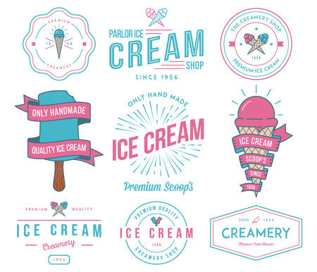 ice cream sundae: Vector ice cream badges and signs for any use
