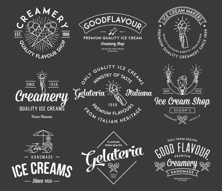 Vector ice cream badges and signs for any use