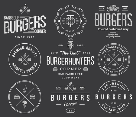 vintage element: fast food badges and icons