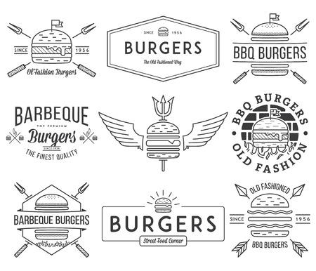 vintage stamp: fast food badges and icons