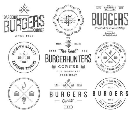 음식: 모든 사용을위한 패스트 푸드 배지 및 아이콘 일러스트