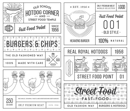 hotdog: fast food badges and icons for any use