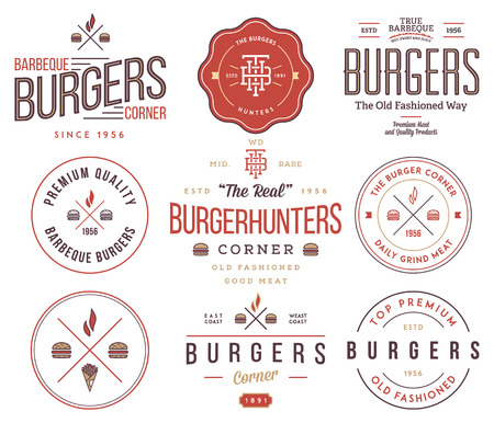grill pattern: fast food badges and icons for any use