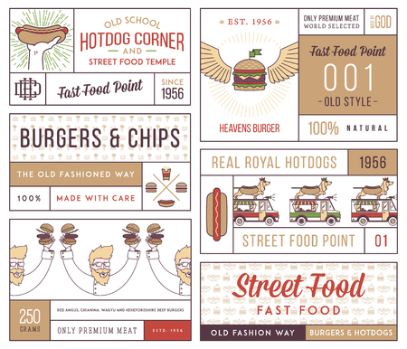 vintage element: fast food badges and icons for any use