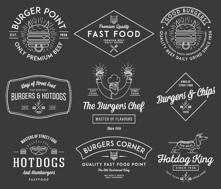 hamburgers: Vector fast food badges and icons for any use