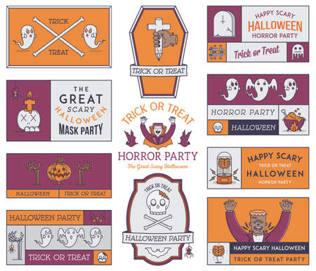 frank: Happy Halloween vector badges and signs for any use Illustration
