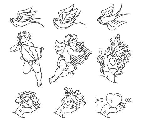 tatouage ange: Lovers Tattoo noir sur blanc Illustration