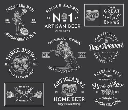 Illustrations célébrant artisan fait à la main de la bière
