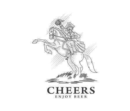caballo bebe: Horserider disfrutando de la cerveza hecha en casa