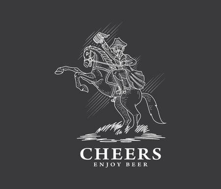craftsperson: Horserider enjoying homemade beer