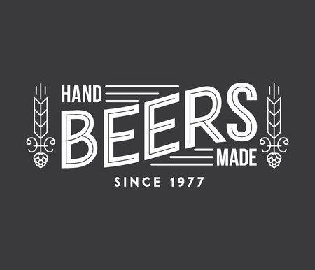draft beer: Typographic illustration about handmade beer