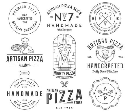 artisan: Vector premium quality artisan handmade pizza black on white