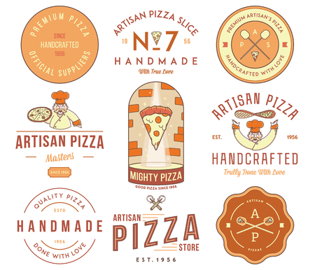 artisan: Vector premium quality artisan handmade pizza colored