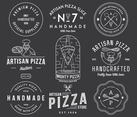 artisan: Vector premium quality artisan handmade pizza white on black