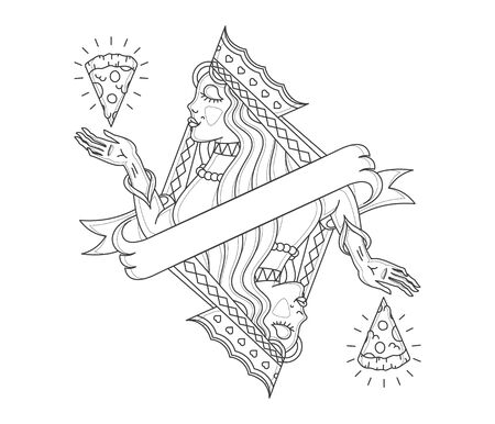 craftsperson: Cocept of a lady Queen contemplating pizza