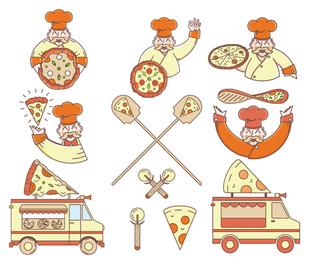 craftsperson: Vector colored pizza bundle for any use Illustration
