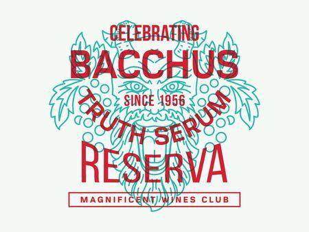 bacchus: Wine illustration in honor of Bacchus God Illustration