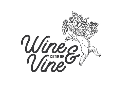Black on white vector illustration of an angel with grapes