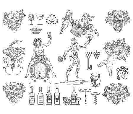 Bundel van wijn badges en iconen voor elk gebruik zwart op wit Stock Illustratie