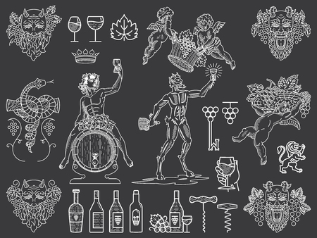 Bundle of wine badges and icons for any use white on black