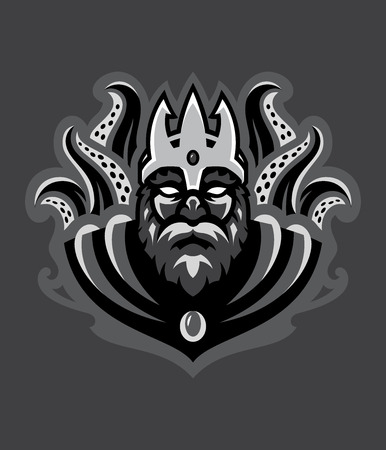Vector illustration of Poseidon god of the seven sea. Illustration