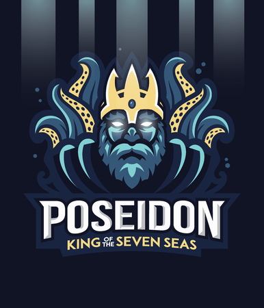 Vector illustration of greek god Poseidon king of the seven seas.