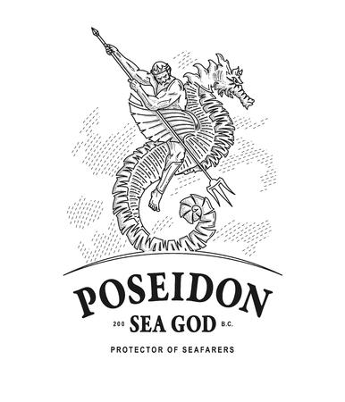 Vector illustratie van Poseidon god van de zee die een seahorse rijdt.