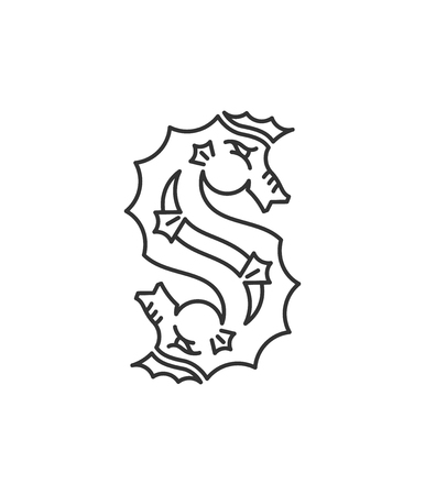 king s: Black on white vector seahorse font illustration for any use