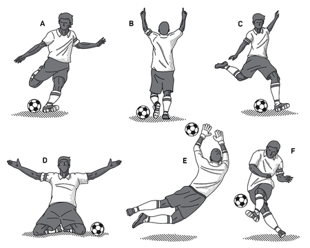 It's black on white background vector illustration set of soccer players in different athletic pose