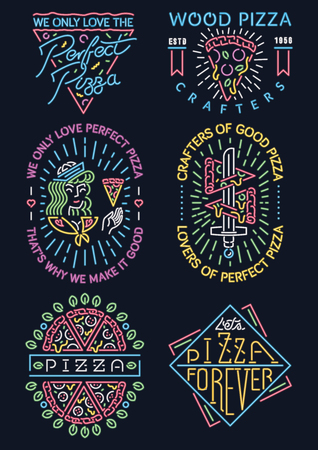 Colored vector collection of different pizza neon signs.
