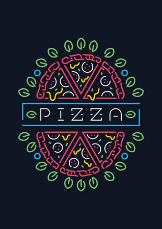 Colored vector illustration about a neon pizza sign.