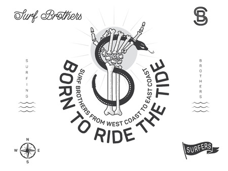 Born to ride the tide is a vector illustration design set about surfing and brotherhood 矢量图像