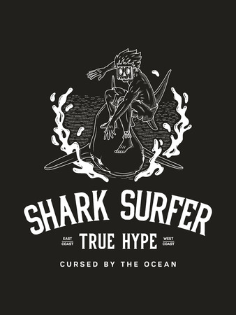 Surf the shark true surfer hype is a white on black vector illustration of a surfer using a shark as a surfboard