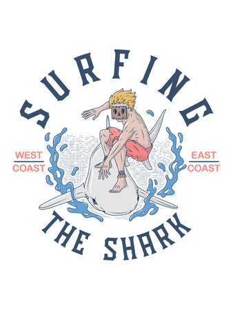 Surfing the shark is a vector illustration of a maui man with a wood mask surfing a shark