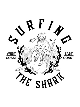 Surfing the shark black on white is a vector illustration of a maui man with a wood mask surfing a shark
