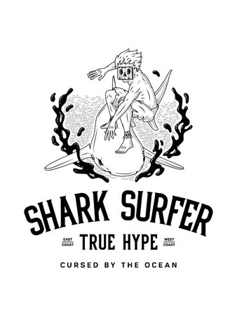 Surf the shark true surfer hype is a black on white vector illustration of a surfer using a shark as a surfboard