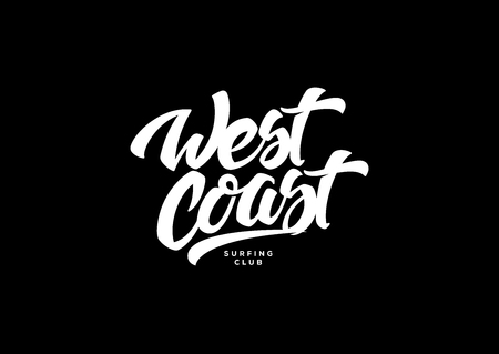 West coast white on black background is a vector illustration about surf and surfing